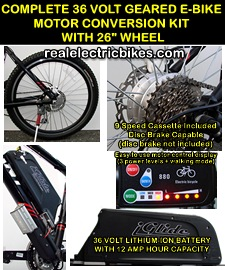 Click here to see details for this complete 36 Volt e-bike motor conversion kit...