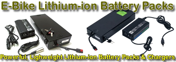 Lithium-ion battery packs and battery chargers for 36 Volt and 48 Volt electric bicycles